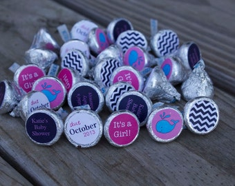 88 Hershey Kiss Labels  - Stickers for Candy Kisses - Whale Baby Shower Favor Girl