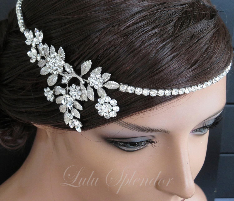 Bridal Headpieces: Bridal Halo Swarovski Crystal Bridal Headpiece Leaf Halo Art