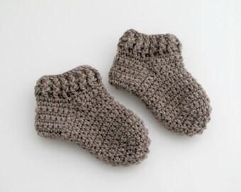 Crocheted Brown Baby Socks. Wool. Booties.