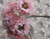 Fabric Millinery Flowers From Austria 6 Pink Ruffled Flowers A-7