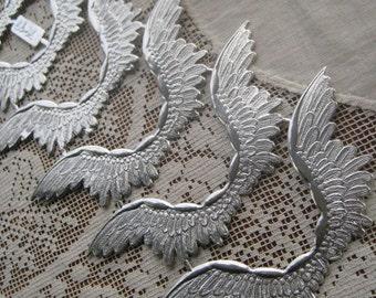 German Dresden Trim 6 Silver Angel Wings Die Cut And Deeply Embossed
