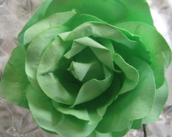Paper Millinery Flowers 2 Extra Large Handmade Paper Roses In Green