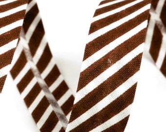 Czech Republic 3 Yards Cotton Single Fold Bias Binding Tape 14mm  Brown Stripe Vt 50
