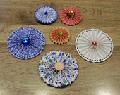 6 Handmade Embellished Paper Rosettes for Scrapbooking Cardmaking Papercrafts