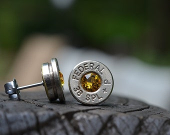 Bullet Earrings stud or post steampunk, nickel silver Federal .38 special with Swarovski crystals