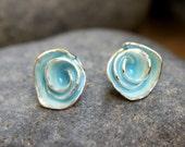 Soft Robin's Egg Blue Enamel Rose Stud Earrings