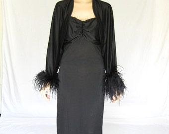 Vintage 60s  Ostrich Feather  Maxi  Dress
