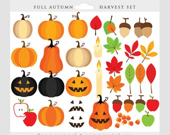 Fall clipart - harvest clip art, autumn, pumpkins, Halloween, jack o'lanterns, leaves, apples, candy corn, for personal and commercial use