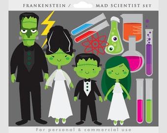 Halloween clipart - Frankenstein clip art, mad Scientist, Hallowe'en clipart, chemistry set, science kit, beakers, test tubes, laboratory
