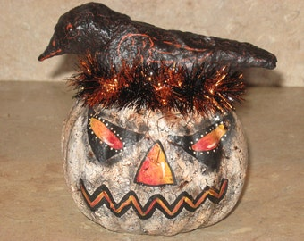Paper mache Halloween White Pumpkin w/Crow on Top