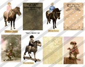 Digital Collage Sheet Vintage Chidren with Horses ATC Images (Sheet no. O70) instant Download