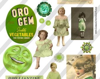 Digital Collage Sheet  Green Images (Sheet no. O3) Instant Download