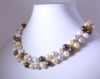 Multi-Color Pearl Necklace June Birthstone Necklace Pearl Statement Necklace Genuine Pearl Necklace Real Pearl Necklace N-110-36