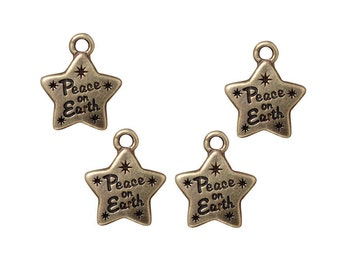 TierraCast Peace Star Charms - Peace On Earth Antique Brass Charms - Christmas Jewelry Supplies - Brass Oxide Bronze Charms (P1171)
