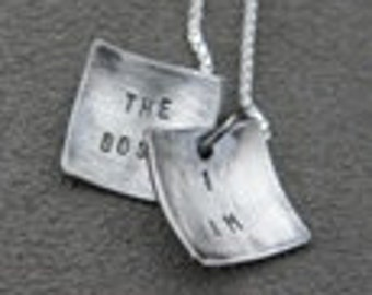 Faux Locket - I Am The Boss - Silver Necklace - Self Affirmation (sm)