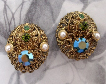 vintage filigree rhinestone earrings West Germany - j5337