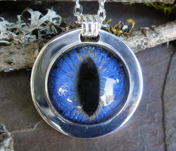 Gothic Steampunk Blue Dragon Eye Pendant