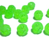 8mm Bright Lime Green acrylic carved rose beads 50pcs