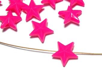 11mm Plastic star beads Bright Pink 40pcs