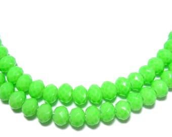 3x4mm Neon Green glass beads 50pcs