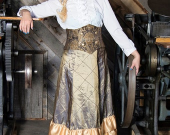 Bronze and Gold Satin Tapestry Victorian Bustle Skirt