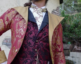 Red and Gold Tapestry Cloth Steampunk Frock Cutaway Swallowtail Wedding Jacket