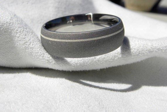 Titanium Ring with Offset Pinstripe Inlay Sandblasted Finish