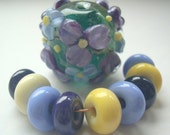 RESERVED FOR SANDRA Floral focal and companions handmade lampwork beads