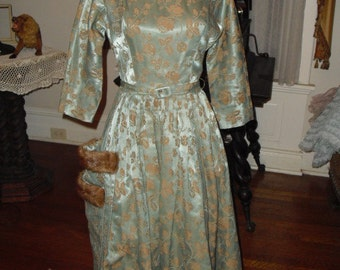 For Quick Sale..Pristine 50's Silk floral Brocade sage Green Fabric with  Mink fur Double Over sized pockets Dress