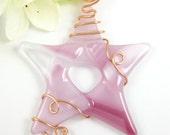 Reserved - Custom Order For Julie --- Pink Glass Star Ornament Suntcher - Fused Glass Star Christmas Ornament