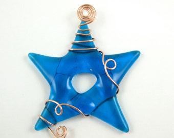 Fused Glass Star Suncatcher - Turquoise Blue Glass