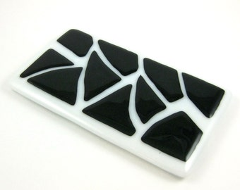 Black and White Fused Glass Spoon Rest