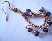 Purple, amethyst chandelier earring - Lacy wire knit Moroccan style hoop-  purple lavendar  gemstone