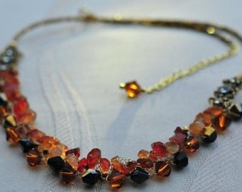 Knitted Wire Necklace in Burgundy,  red, wine and orange gemstones classy, upscale elegant jewelry