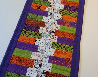 Halloween Quilted Table Runner One of A Kind Decorations Purple White Green Orange Spiders Owls Polka Dots Washable