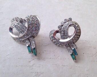 vintage sterling silver earrings with rhinestones
