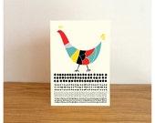 Colorful Hen - Greeting Card / Blank / Kraft Envelope