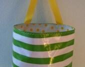 Beth's Green Stripe Oilcloth Car Trash Bag