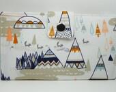 SALE -  Handmade vegan Long Wallet  BiFold Clutch - Indian Summer Teepee and little fox