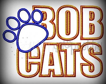 Bobcats Paw Silhouette Embroidery Applique Design