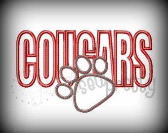 Cougars Pawprint Embroidery Applique Design
