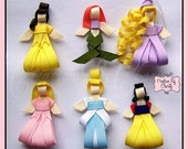 Disney Princess Hair Bow Clips Ribbon Sculpture Girl Accessory- You choose any FOUR