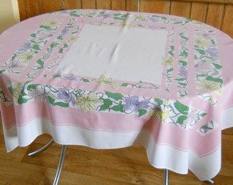 Vintage Mid Century Tablecloth • Floral Mid Century Table cloth • Pink Yellow Green