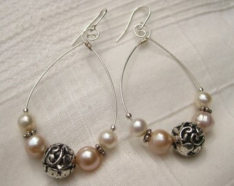 White and Pink Pearl Earrings June Birthstone Sterling Silver Celtic Spiral Romantic Hoops