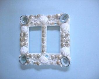 Seashell Light Switch Plate Light Cover -Double Rocker White Pearl Aqua