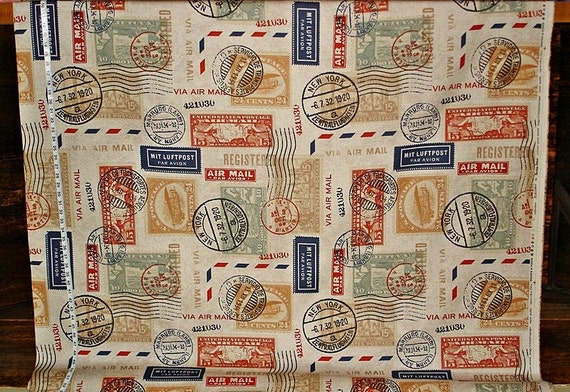 Travel fabric postage stamp mail interior home decorating