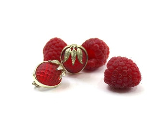 1950s Raspberry Earrings Glass Fruit with Gold Leaves