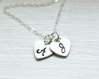 Personalized Necklace/ Two Heart Initials Necklace/ Mother's Necklace/ Couples Necklace/  Hand Stamped Necklac