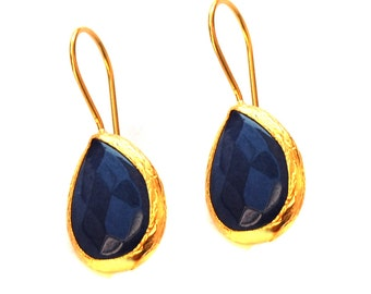 Drop Blue Earrings, gold drop earrings, navy blue, september birthstone, blue sapphire color Earrings, dark blue drops, blue drop earrings