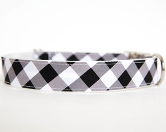 Gingham Dog Collar in Black